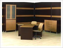 Офисная мебель и стеновые панели в едином стиле